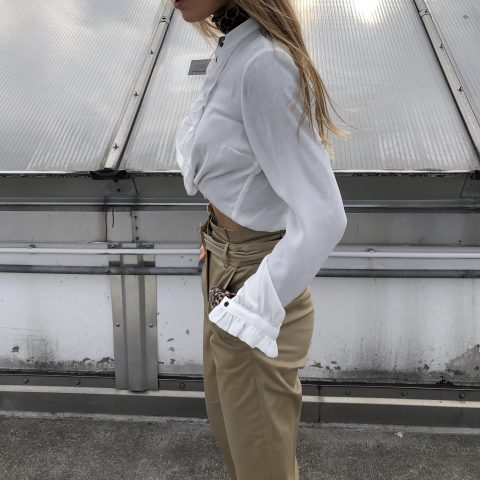 RUFFLE BLOUSE AND PAPERBAG PANTS